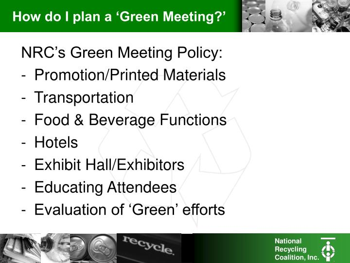 How do i plan a green meeting