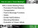 how do i plan a green meeting