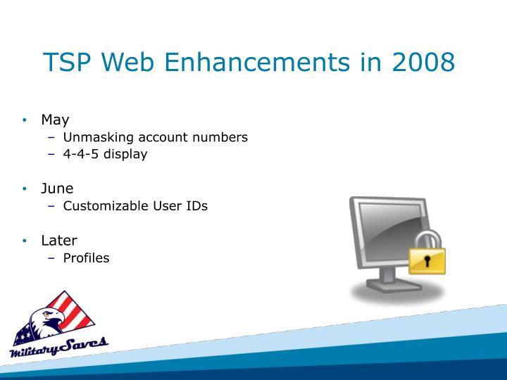 TSP Web Enhancements in 2008