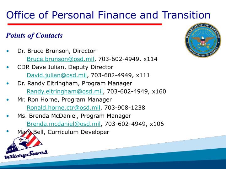 Office of Personal Finance and Transition