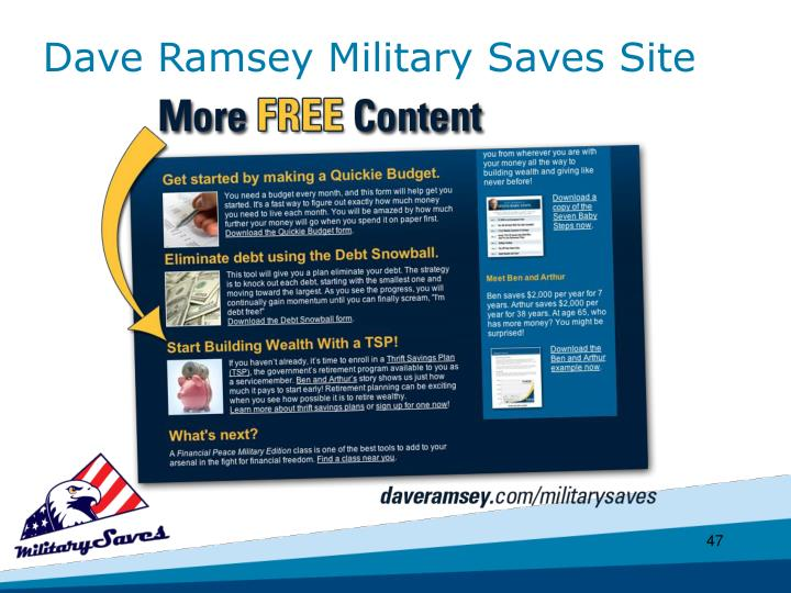 Dave Ramsey Military Saves Site