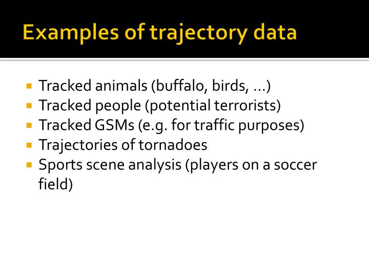 Examples of trajectory data