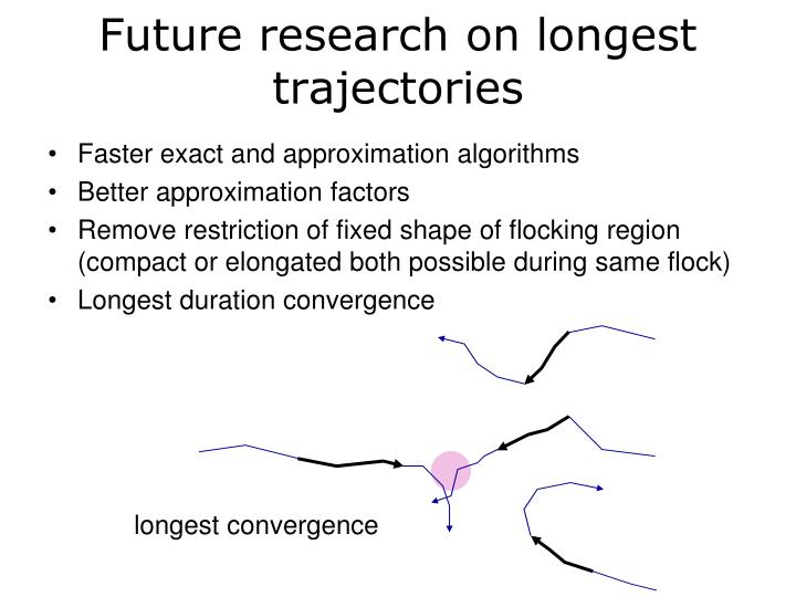 Future research on longest trajectories