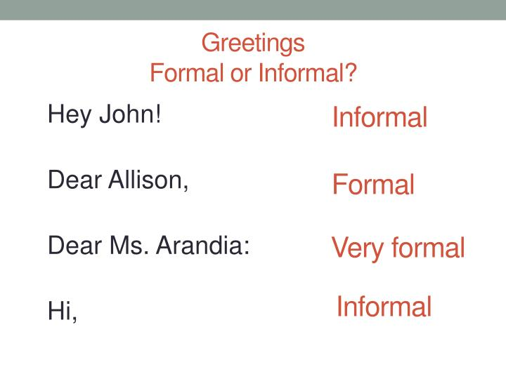Greetings formal or informal