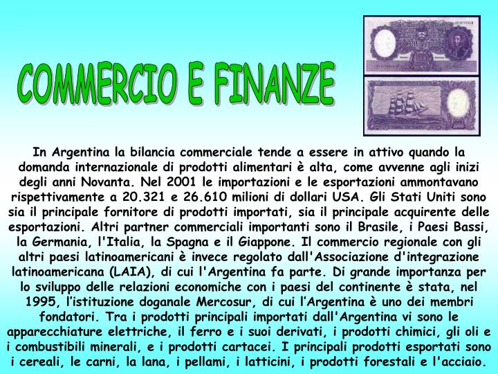 COMMERCIO E FINANZE