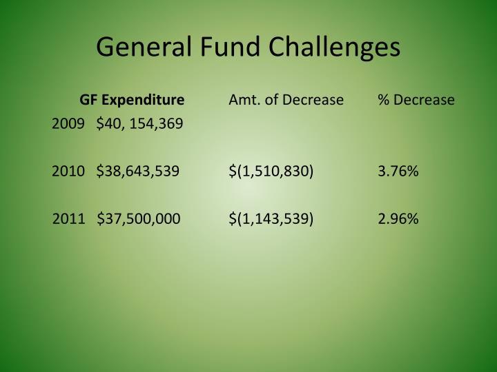 General Fund Challenges