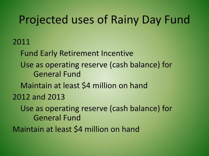 Projected uses of Rainy Day Fund