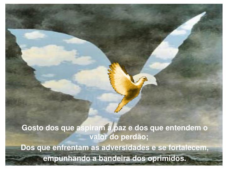 Gosto dos que aspiram a paz e dos que entendem o valor do perdão;