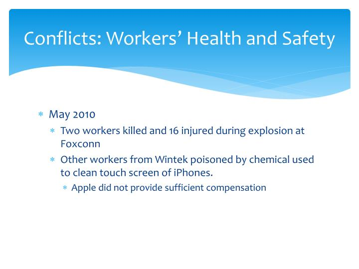 Conflicts: Workers' Health and Safety