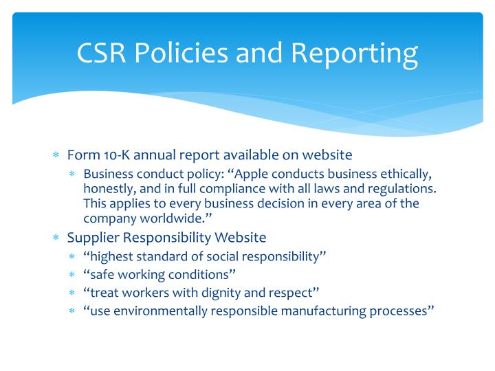 CSR Policies and Reporting