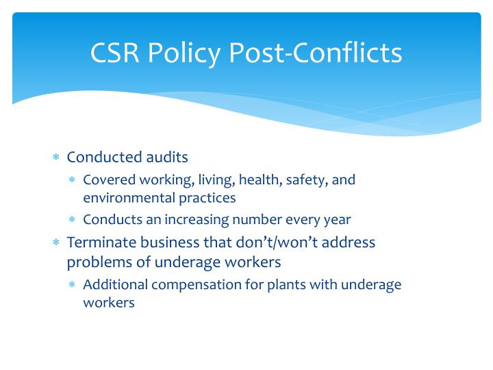 CSR Policy Post-Conflicts