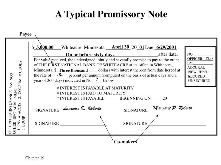 A typical promissory note