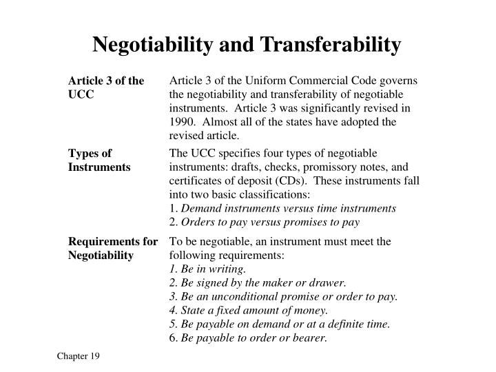 Negotiability and Transferability