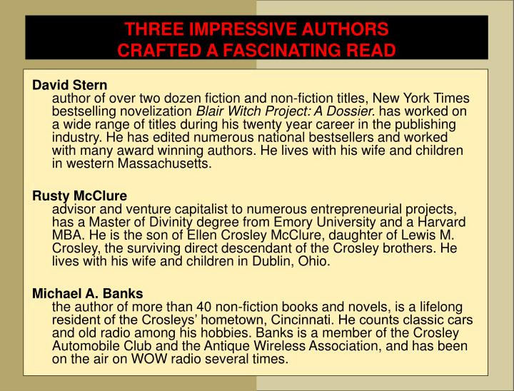 THREE IMPRESSIVE AUTHORS