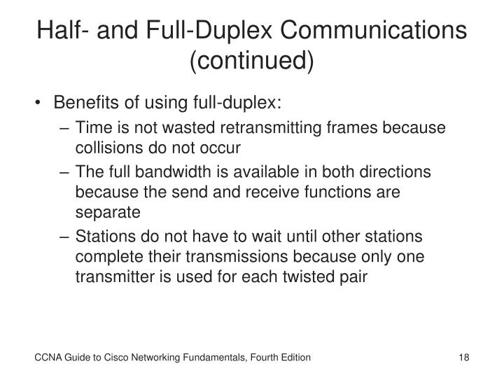 Half- and Full-Duplex Communications (continued)