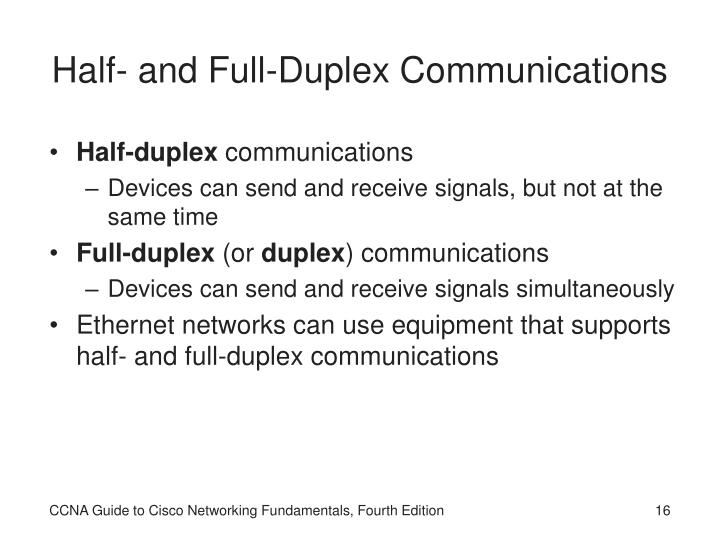 Half- and Full-Duplex Communications