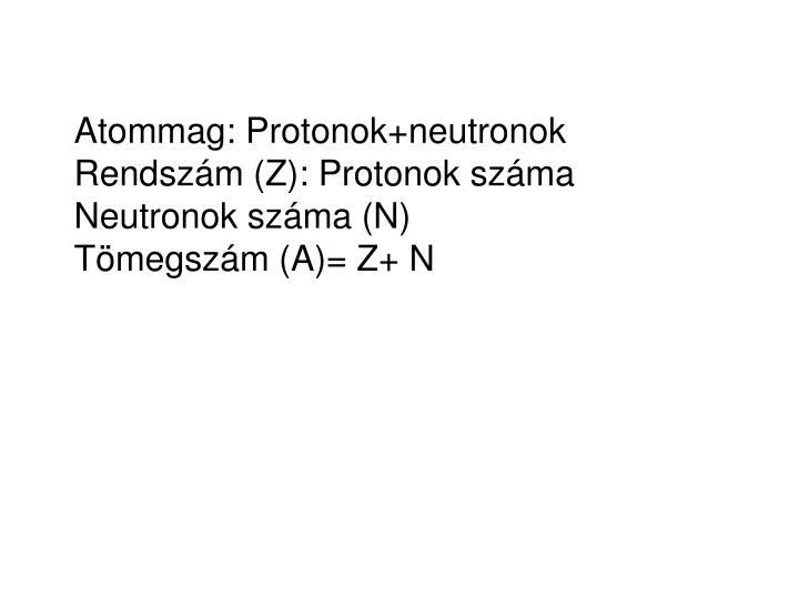 Atommag: Protonok+neutronok
