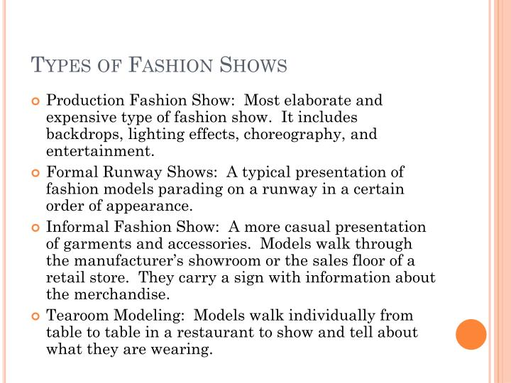 Types of Fashion Shows