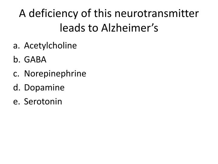 A deficiency of this neurotransmitter leads to Alzheimer's