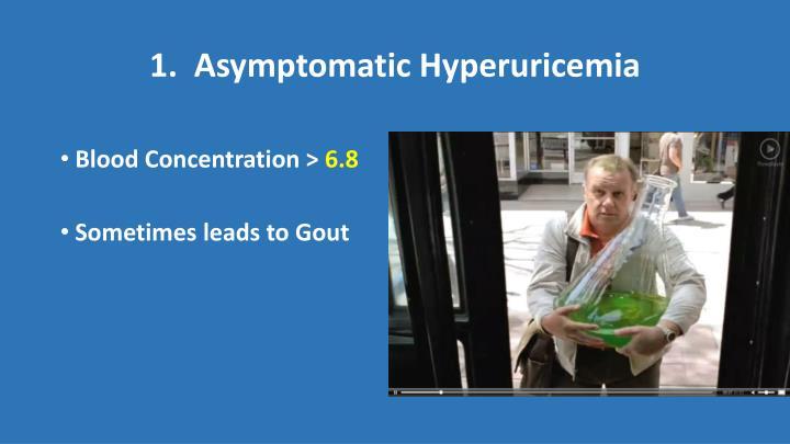 1.  Asymptomatic Hyperuricemia