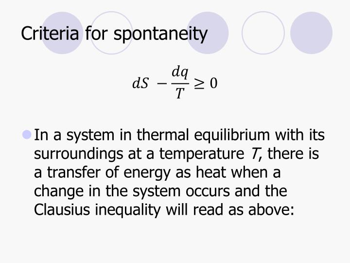 Criteria for spontaneity