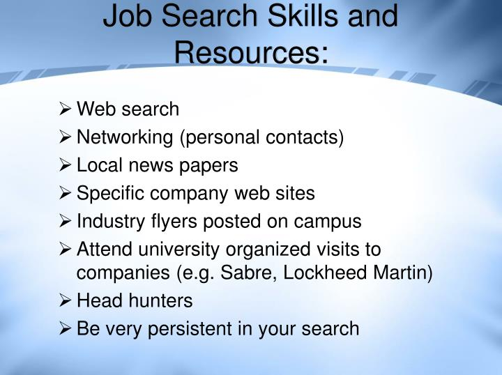 Job search skills and resources