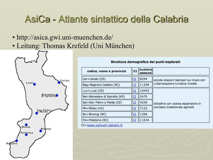 AsiCa - Atlante sintattico della Calabria