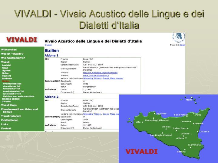 VIVALDI - Vivaio Acustico delle Lingue e dei Dialetti d'Italia