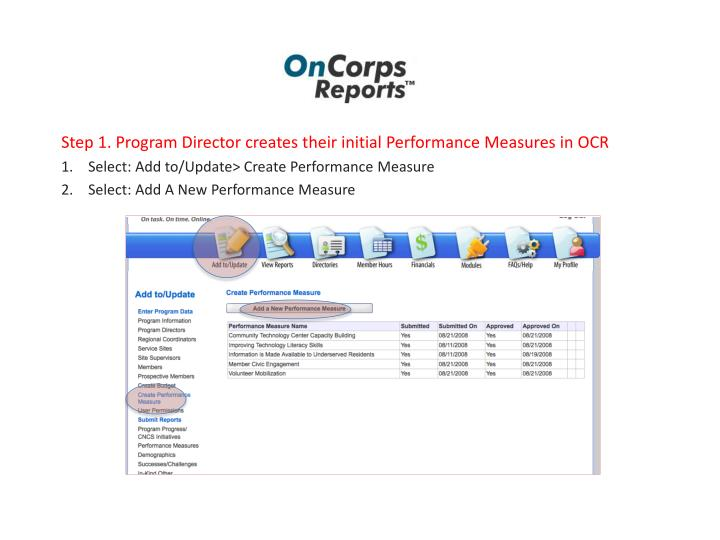 Step 1. Program Director creates their initial Performance Measures in OCR