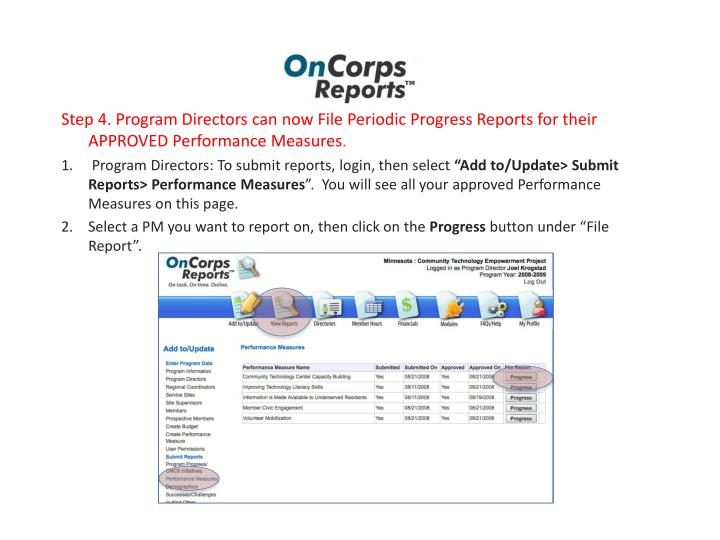 Step 4. Program Directors can now File Periodic Progress