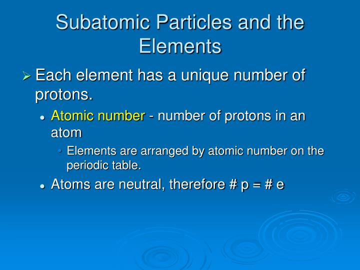 Subatomic Particles and the Elements