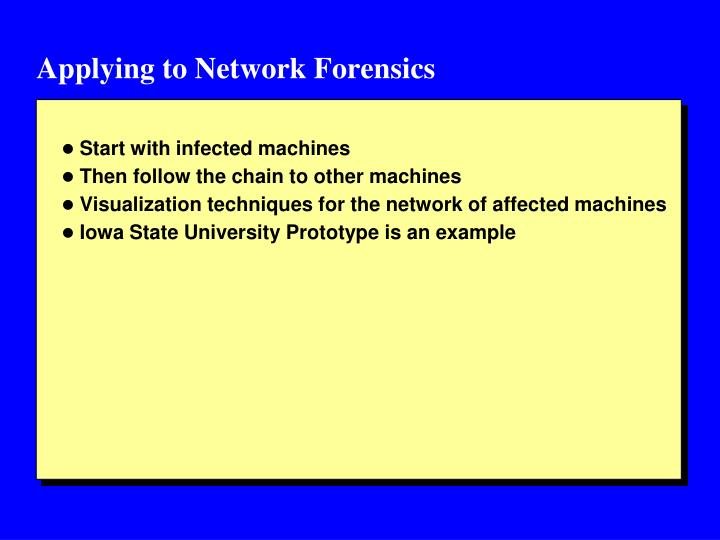 Applying to Network Forensics