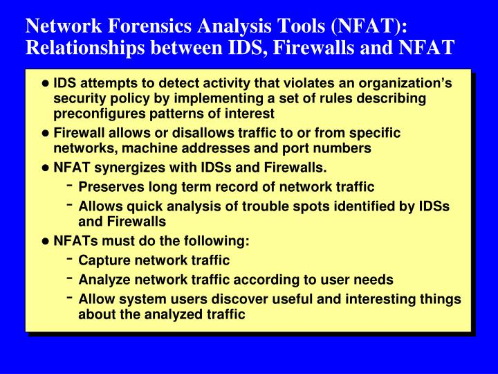 Network Forensics Analysis Tools (NFAT): Relationships between IDS, Firewalls and NFAT