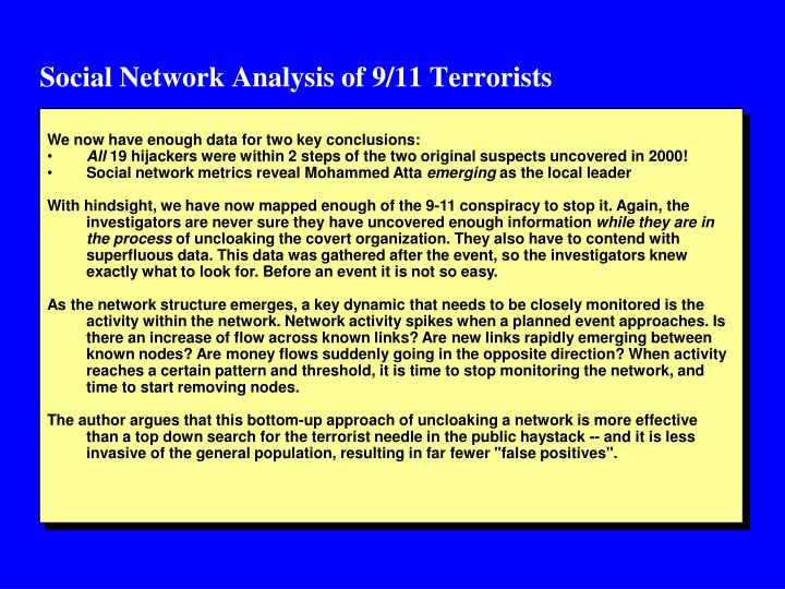 Social Network Analysis of 9/11 Terrorists