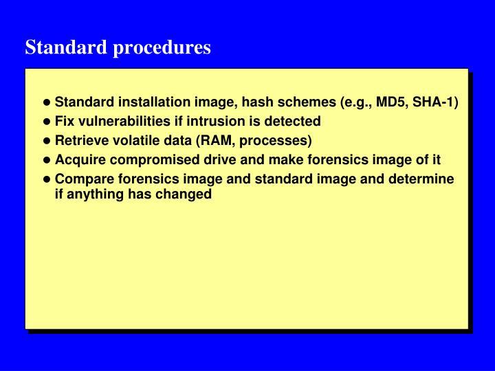 Standard procedures