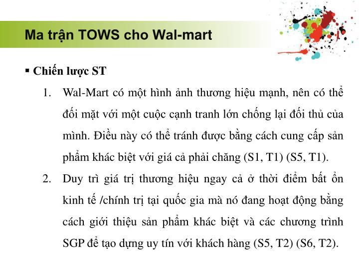 Ma trận TOWS cho Wal-mart