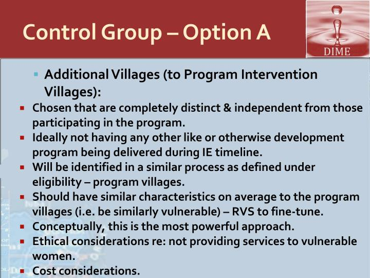Control Group – Option A