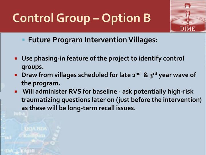 Control Group – Option B