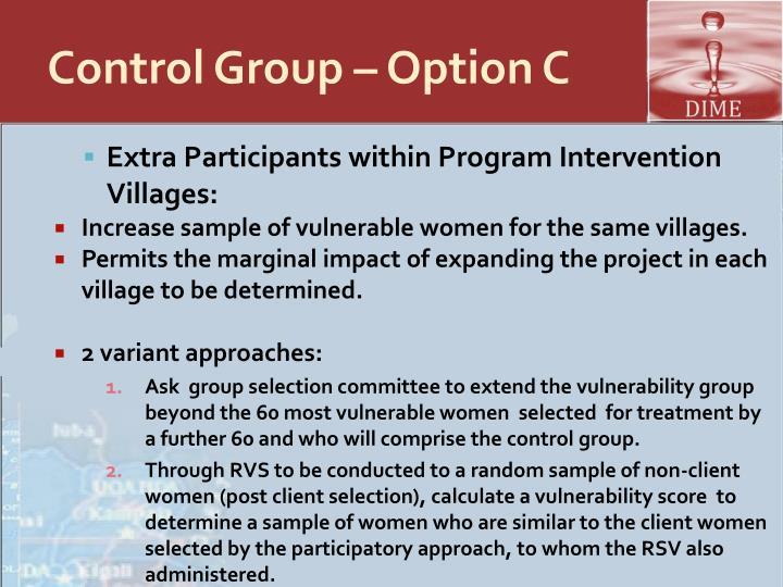 Control Group – Option C