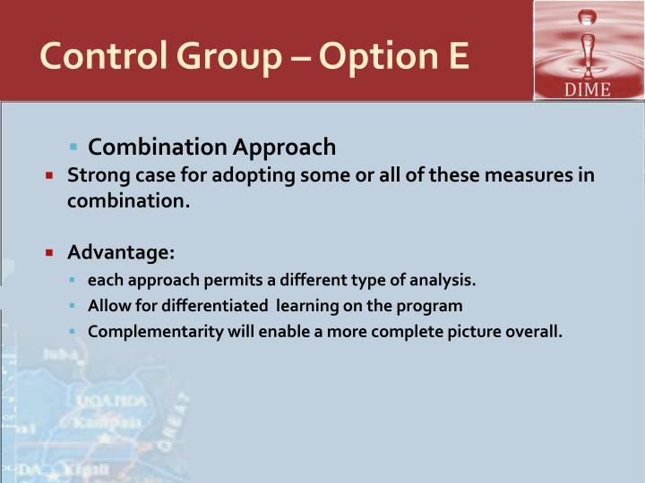 Control Group – Option E