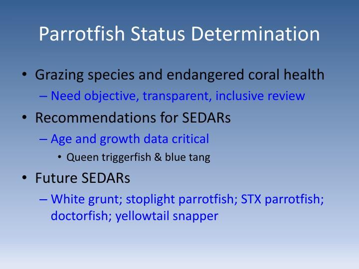 Parrotfish Status Determination