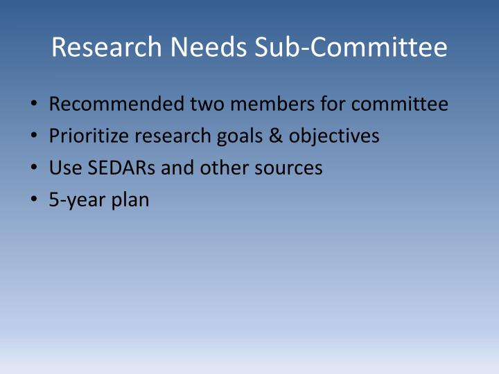 Research Needs Sub-Committee