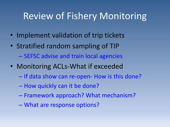 Review of Fishery Monitoring