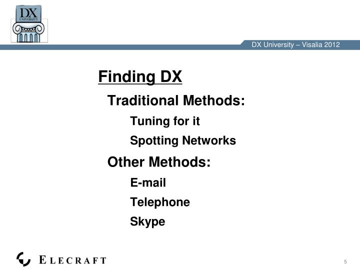 Finding DX