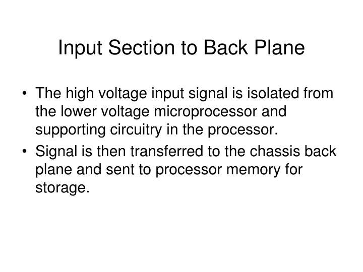 Input Section to Back Plane