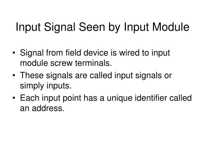 Input Signal Seen by Input Module