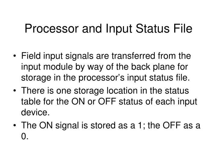 Processor and Input Status File