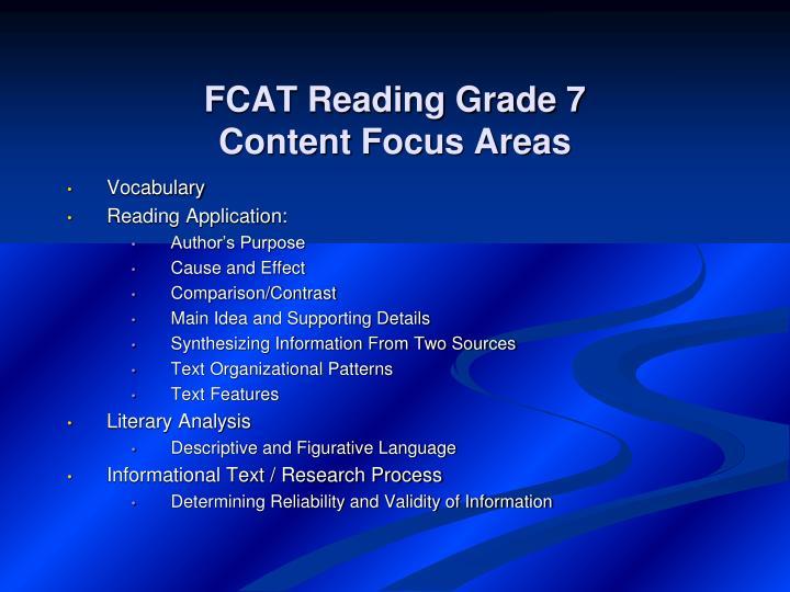 FCAT Reading Grade 7