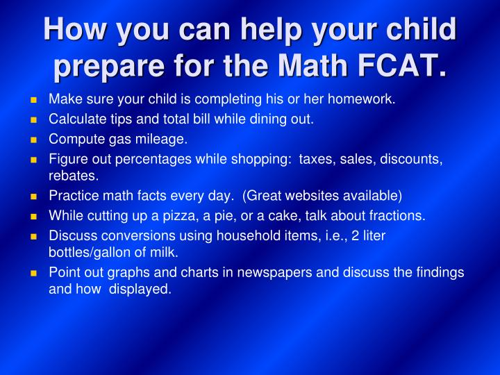 How you can help your child prepare for the Math FCAT.