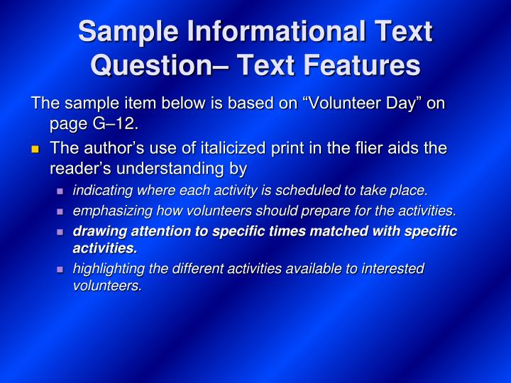 Sample Informational Text Question– Text Features
